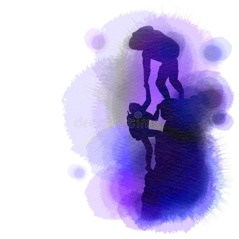 Silueta de la gente que se ayuda a caminar para arriba una montaña Estilo de la acuarela libre illustration