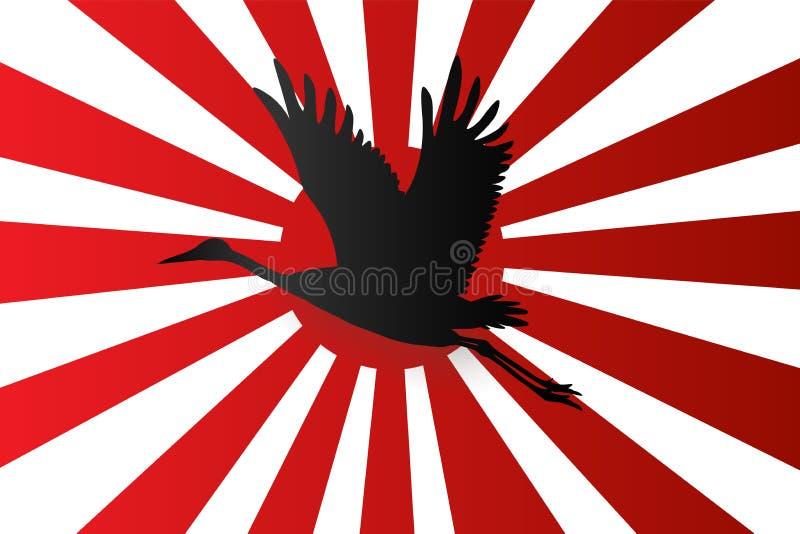 Silueta de la grúa japonesa que vuela el fondo rojo del sol naciente de la bandera onJapanese de la marina de guerra libre illustration