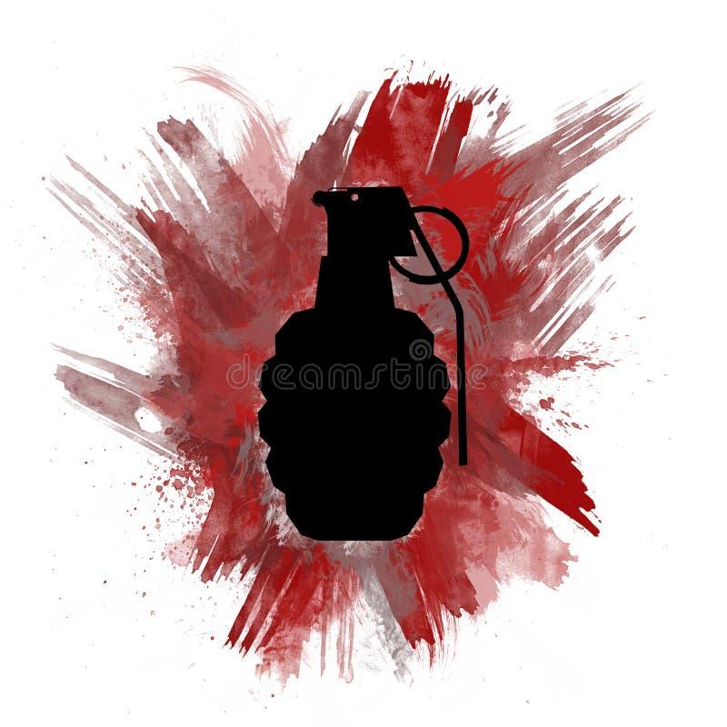 Silueta de la granada de mano con la explosión de color rojo pintada foto de archivo libre de regalías