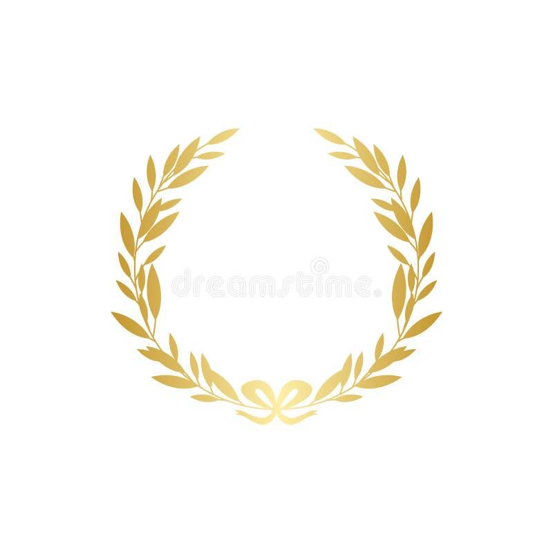 Silueta de la guirnalda del laurel del oro con la cinta de oro, decoración realista de la rama de la hoja ilustración del vector
