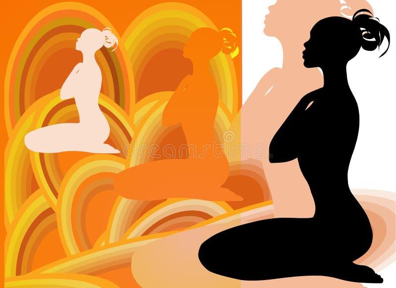 Silueta de la hembra de la yoga stock de ilustración