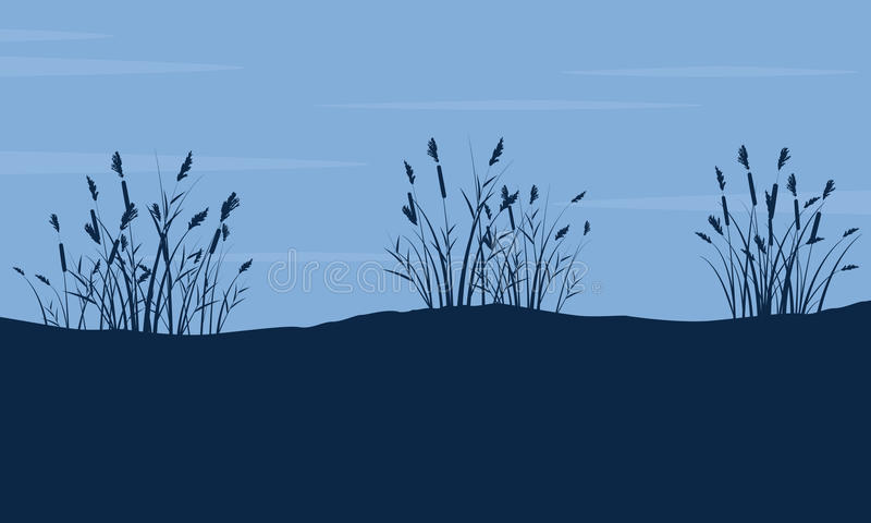Silueta de la hierba gruesa en paisaje de la colina libre illustration