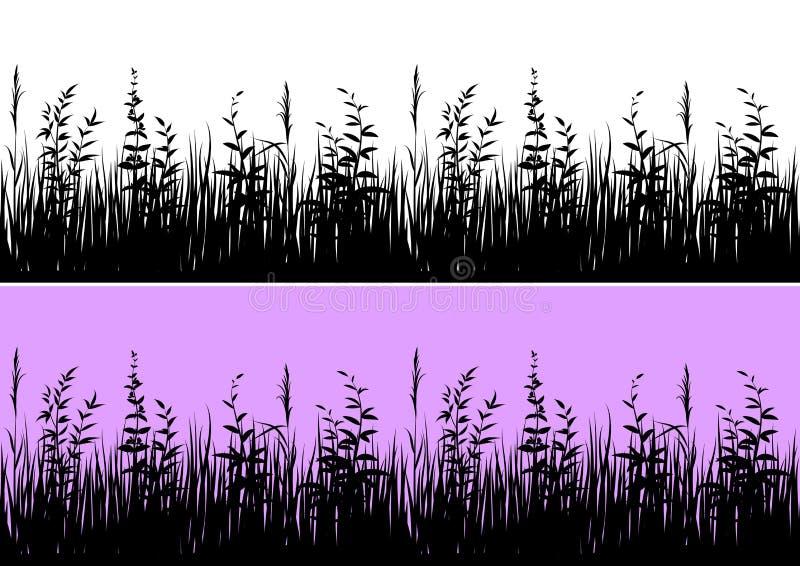 Silueta de la hierba, inconsútil ilustración del vector