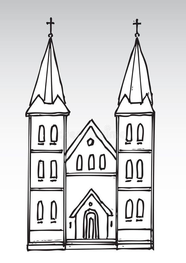 Silueta de la iglesia stock de ilustración