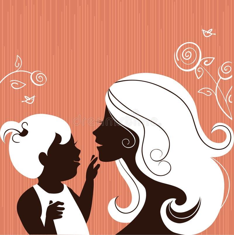 Silueta de la madre con el bebé libre illustration