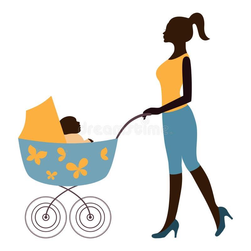 Silueta de la madre que camina con el bebé en cochecito stock de ilustración