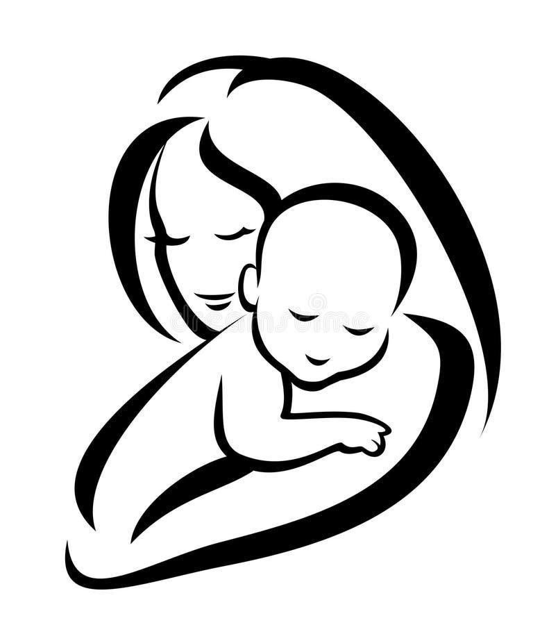 Silueta de la madre y del bebé stock de ilustración