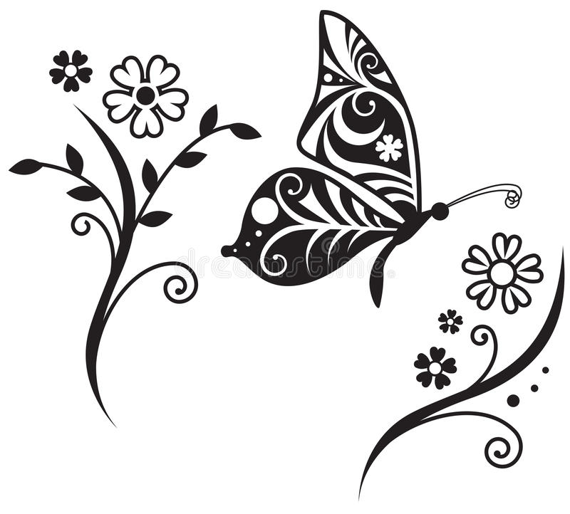 Silueta de la mariposa y ramificación de la flor stock de ilustración