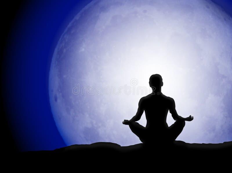 Silueta de la meditación de la luna stock de ilustración