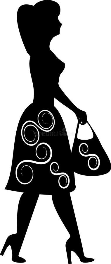 Silueta de la muchacha de compras fotos de archivo libres de regalías