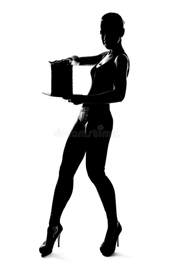 Silueta de la muchacha de moda con el cilindro imagen de archivo