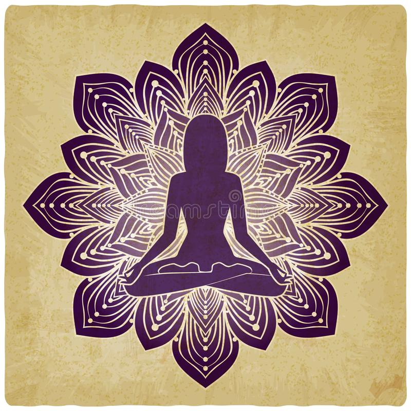 Silueta de la muchacha en actitud de la yoga en fondo del vintage de la flor libre illustration