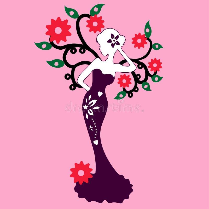 Silueta de la muchacha hermosa que se coloca cerca del árbol de la flor, ejemplo del vector ilustración del vector