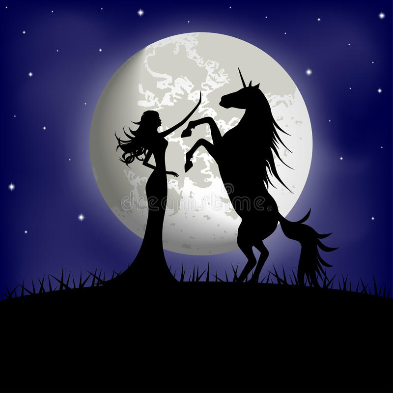 Silueta de la muchacha hermosa y del unicornio ilustración del vector