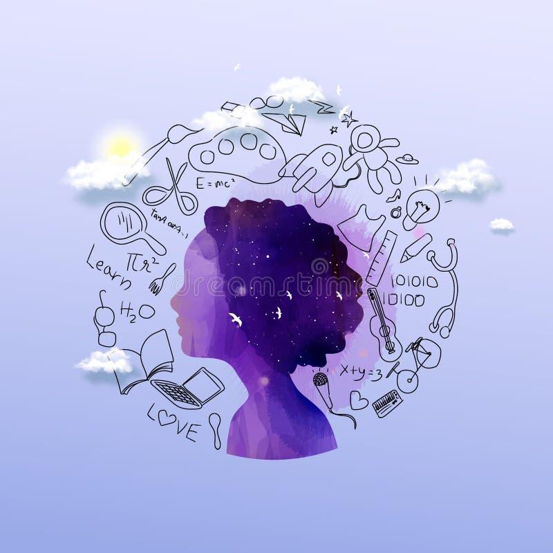 Silueta de la muchacha más acuarela abstracta con los iconos de pensamiento de los garabatos del concepto de la educación fijados stock de ilustración