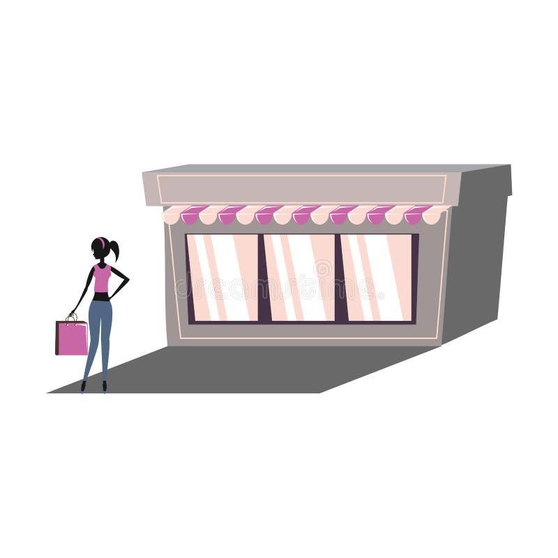 Silueta de la mujer con el bolso de compras en fachada de la tienda stock de ilustración