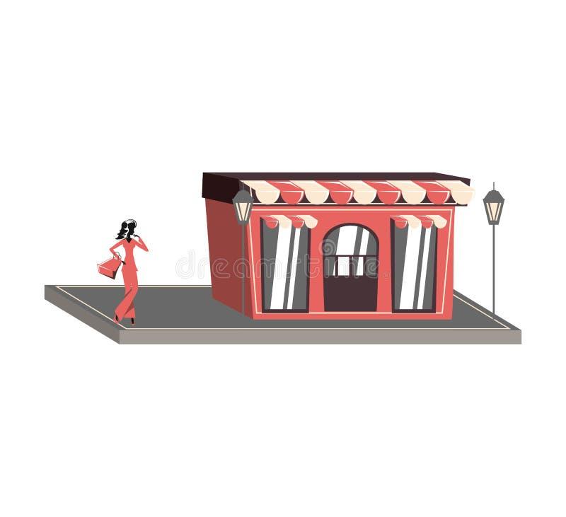 Silueta de la mujer con el bolso de compras en fachada de la tienda ilustración del vector