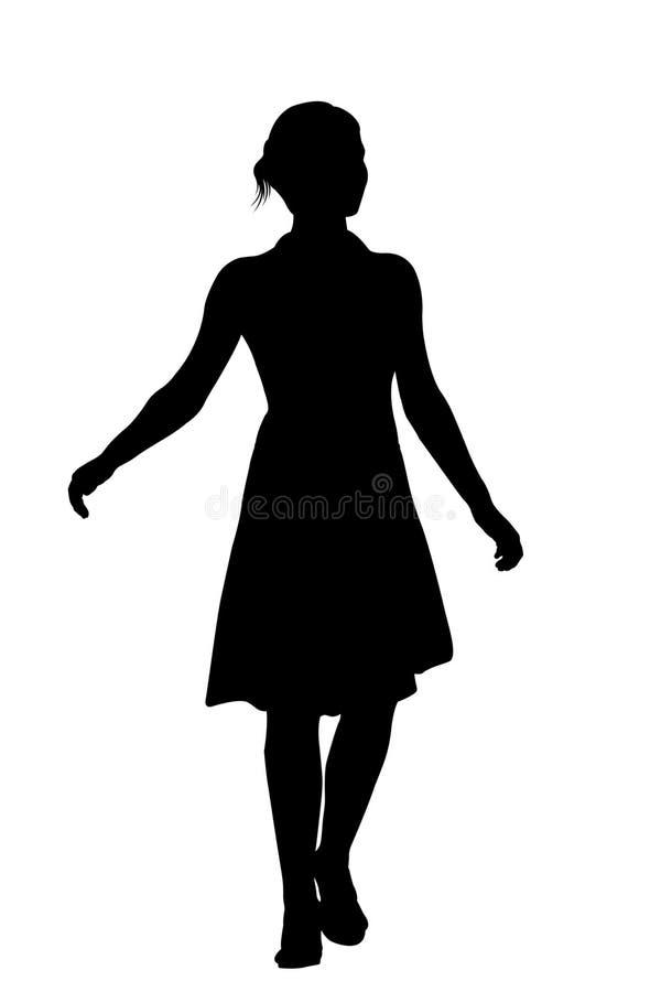 Silueta de la mujer con el camino de recortes stock de ilustración