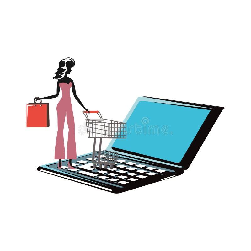 Silueta de la mujer con el carro de la compra y bolso en ordenador portátil ilustración del vector