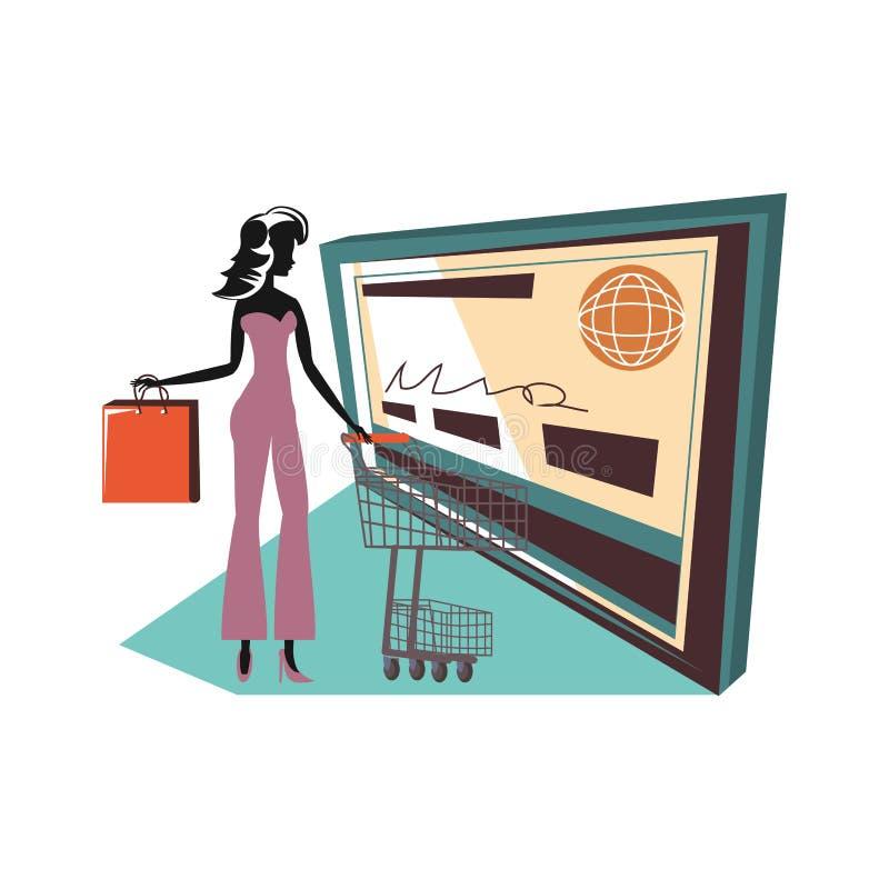 Silueta de la mujer con el carro de la compra y el bolso y la tarjeta de crédito stock de ilustración
