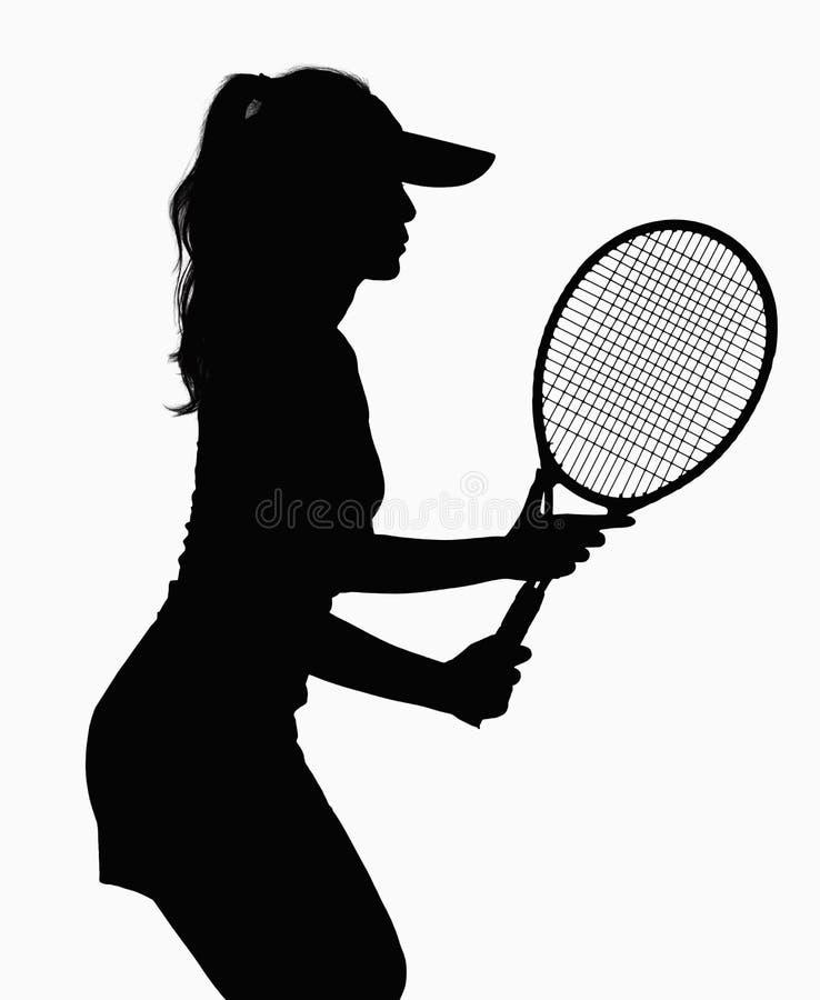 Silueta de la mujer con la estafa de tenis. fotos de archivo libres de regalías