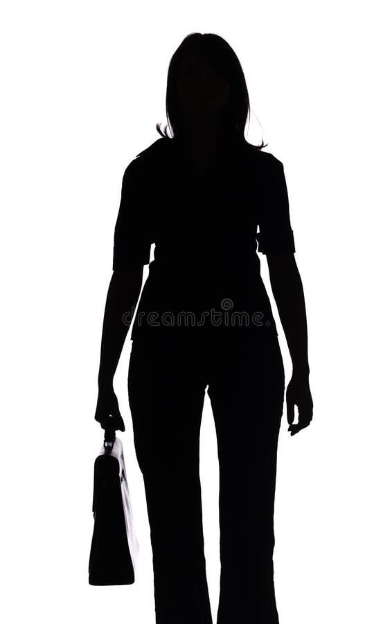 Download Silueta De La Mujer Con La Maleta Imagen de archivo - Imagen de encargado, muchacha: 1282599