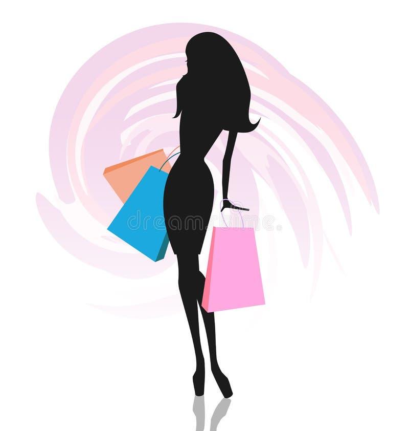 Silueta de la mujer con los bolsos de compras stock de ilustración