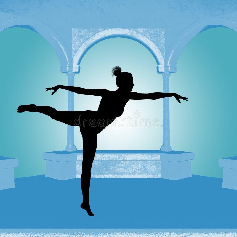 Silueta de la mujer de la danza stock de ilustración