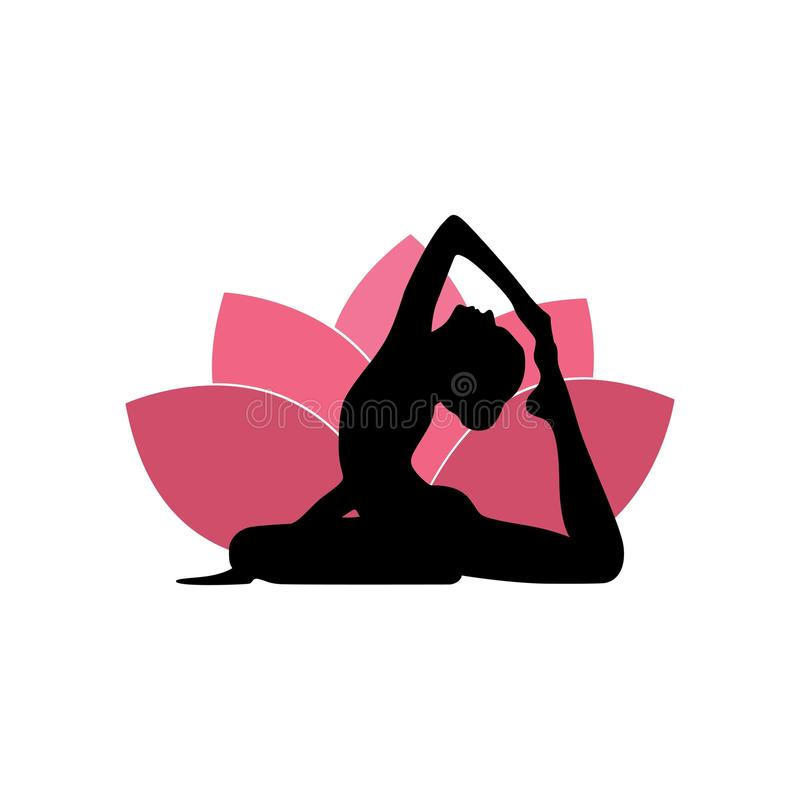 Silueta de la mujer de la yoga, Lotus Flower Background Logo Design rosada ilustración del vector