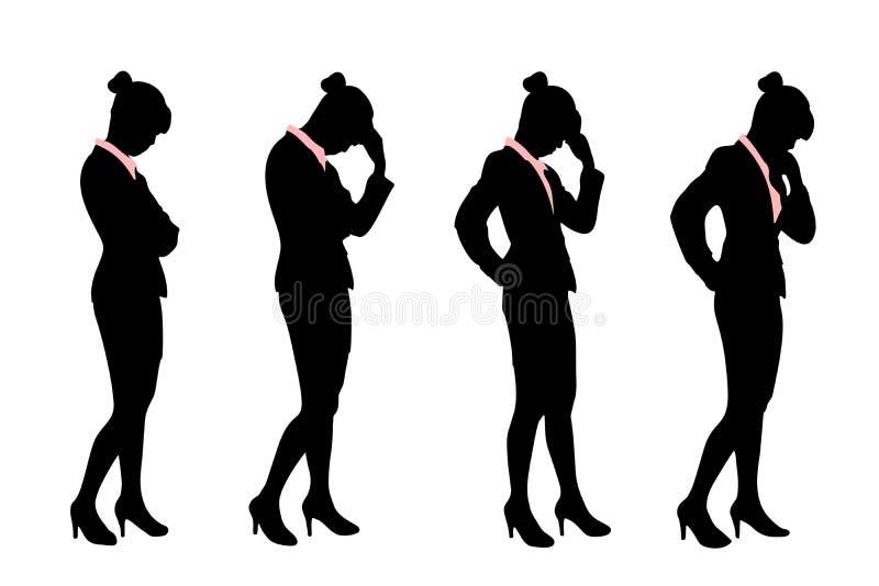 Silueta de la mujer de negocios ilustración del vector