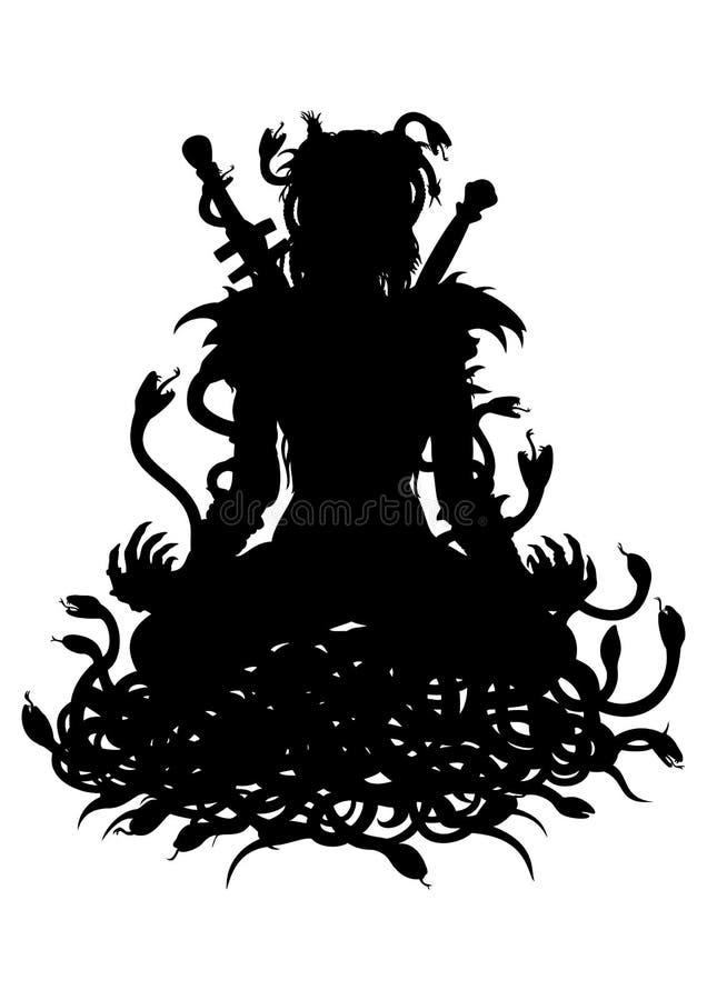 Silueta de la mujer del guerrero en loto con las serpientes stock de ilustración