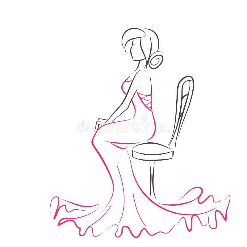 Silueta de la mujer elegante joven que se sienta en silla ilustración del vector