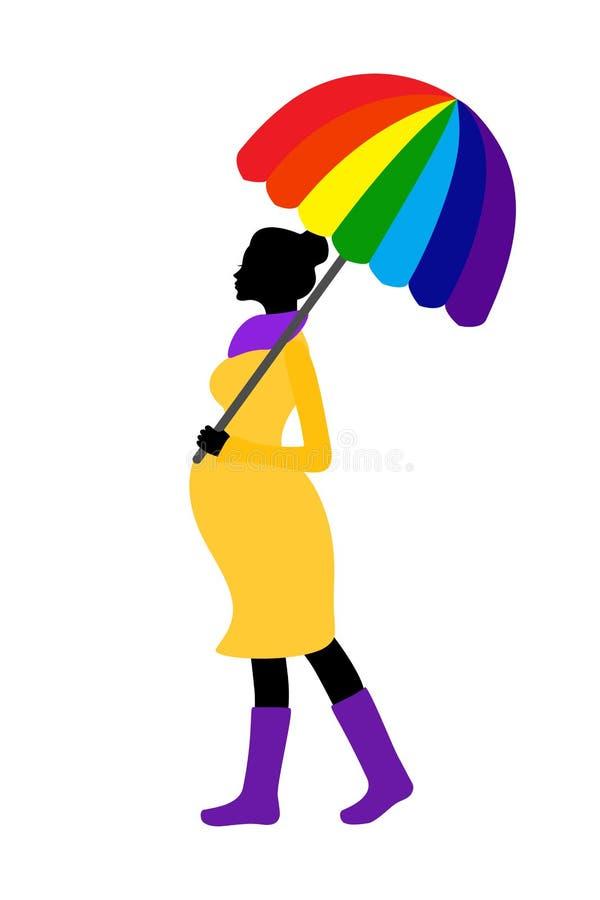 Silueta de la mujer embarazada con el paraguas del arco iris y las botas de goma stock de ilustración
