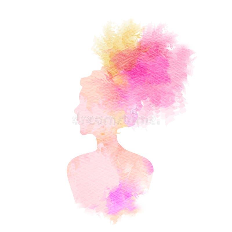 Silueta de la mujer más acuarela abstracta ilustración del vector