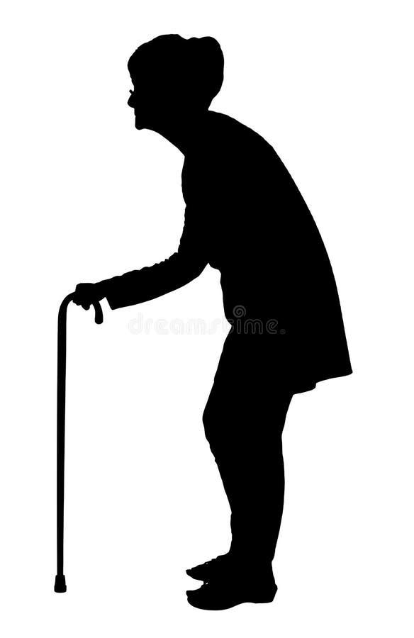 Silueta de la mujer mayor con detrás caminar doblado con el bastón