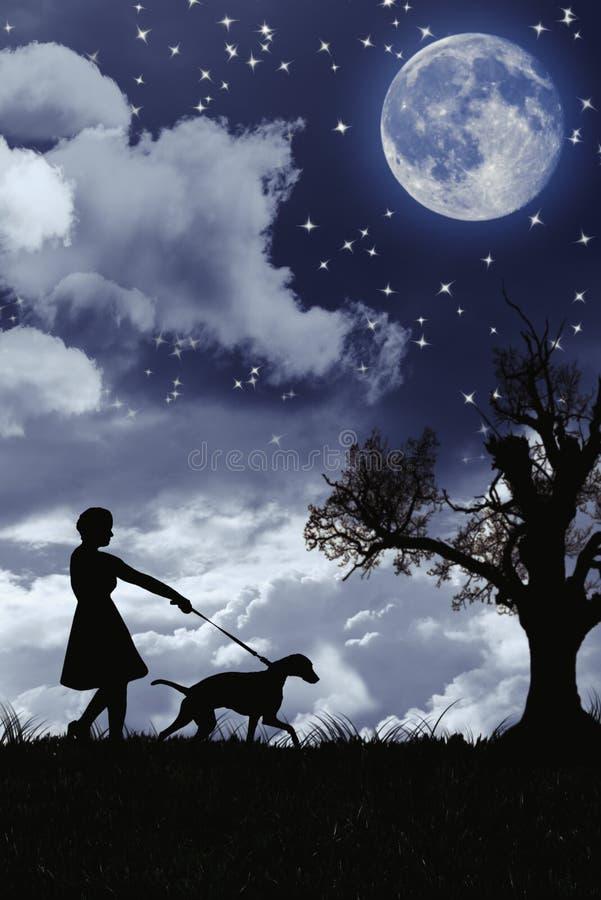 Silueta de la mujer que camina su perro fotografía de archivo