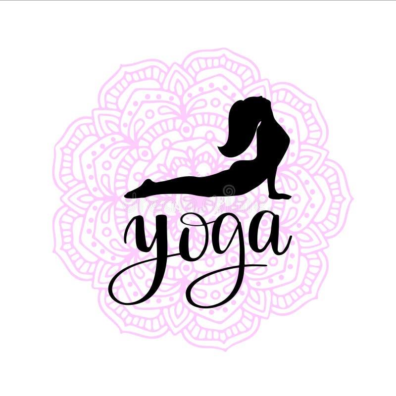 Silueta de la mujer que hace ejercicio de la yoga en fondo coloreado de la mandala libre illustration