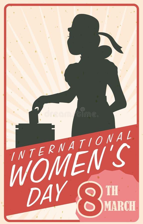 Silueta de la mujer que vota en el cartel del día de las mujeres retras, ejemplo del vector libre illustration