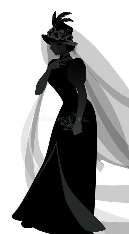 Silueta de la mujer vestida en los velos y la ropa antigua de la viuda que llevan una puntilla de flores en una mano stock de ilustración