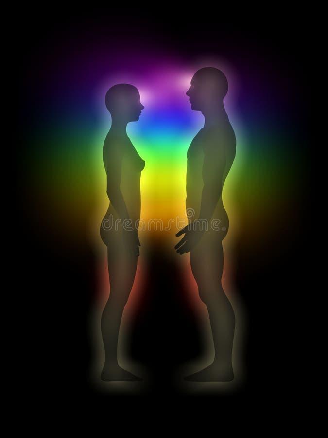 Silueta de la mujer y del hombre con la aureola, chakras, energ stock de ilustración