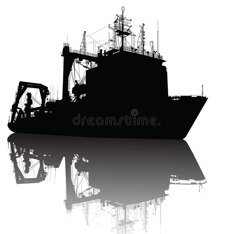 Silueta de la nave stock de ilustración