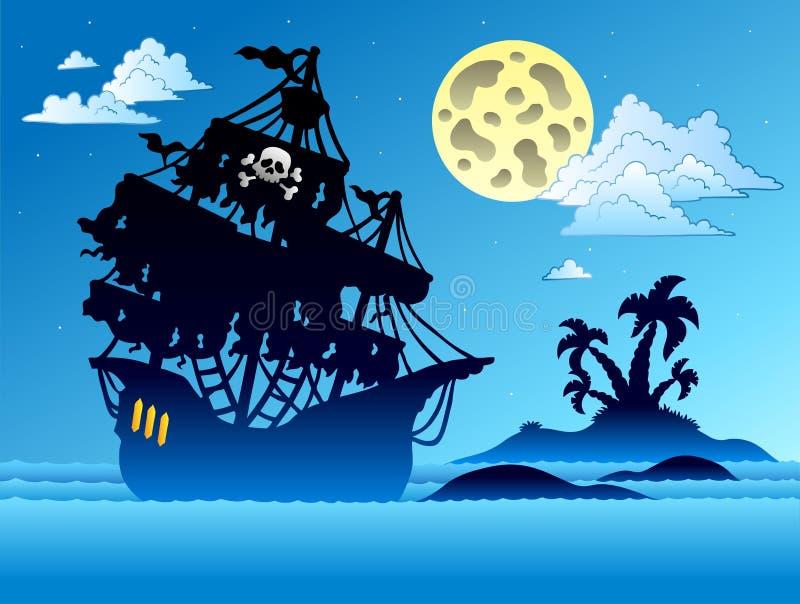 Silueta de la nave de pirata con la isla ilustración del vector