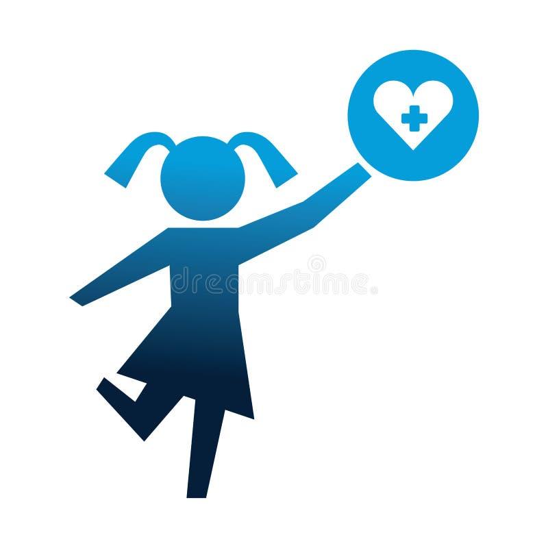 Silueta de la niña con el icono aislado médico del corazón ilustración del vector