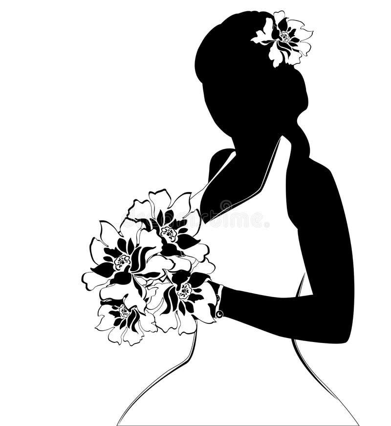 Silueta de la novia stock de ilustración