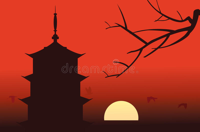 Silueta de la pagoda ilustración del vector