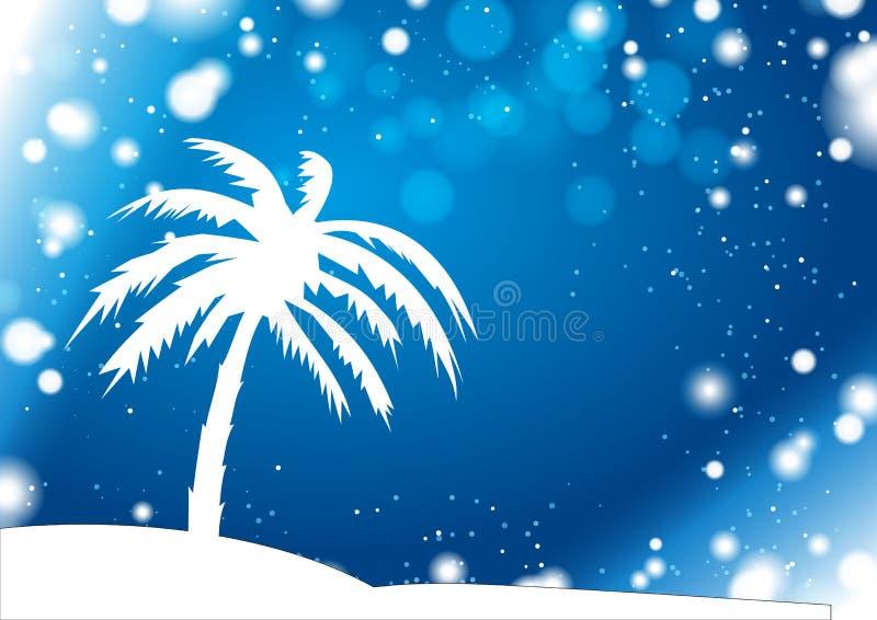 Silueta de la palma con la tormenta del invierno de la anomalía stock de ilustración