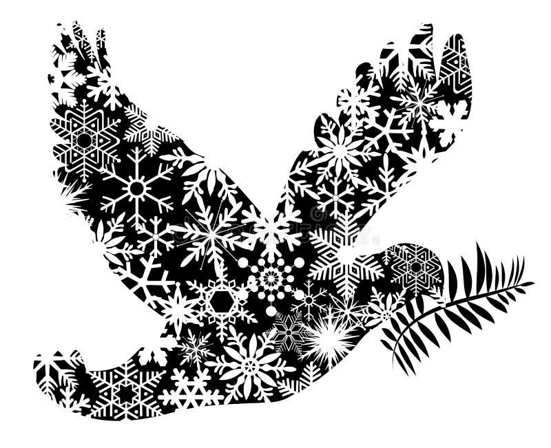 Silueta de la paloma de la paz de la Navidad ilustración del vector