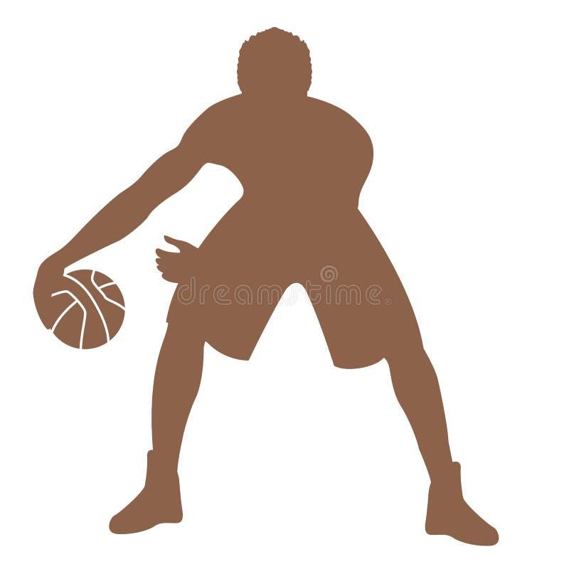 Silueta de la parte delantera del ejemplo del vector del jugador de básquet del hombre stock de ilustración