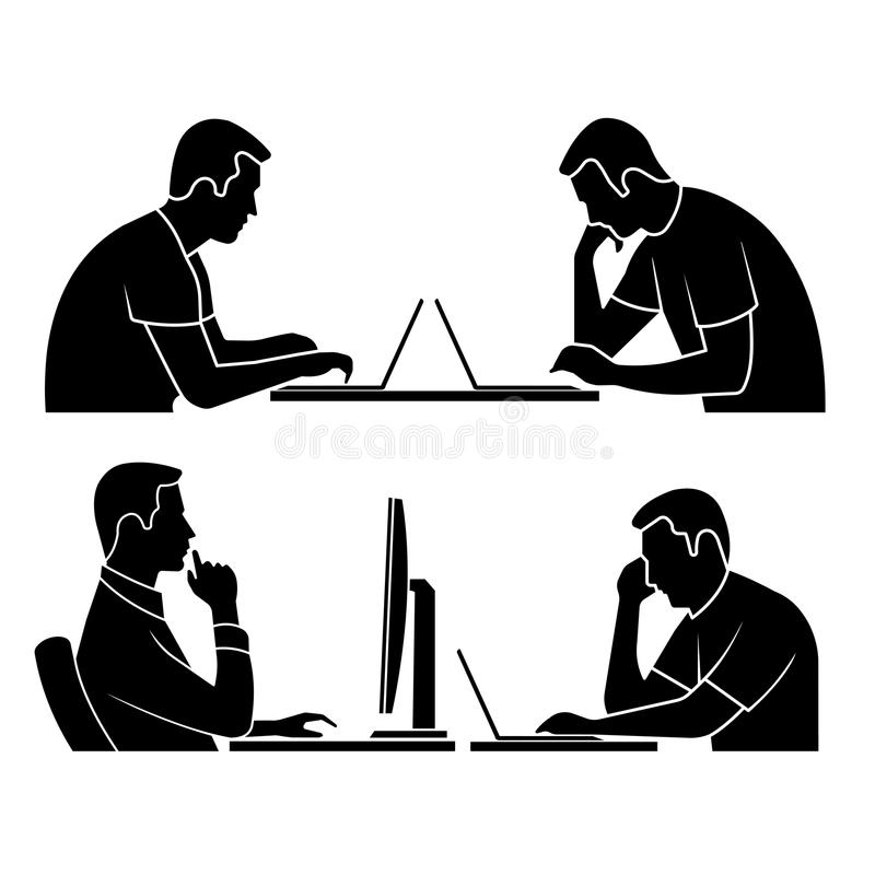 Silueta de la persona en el ordenador libre illustration