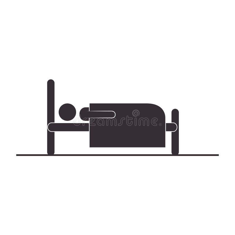 Silueta de la persona en icono de la cama libre illustration